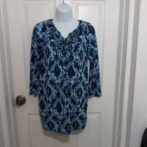 White Stag Beautiful Blue Design Blouse. Large